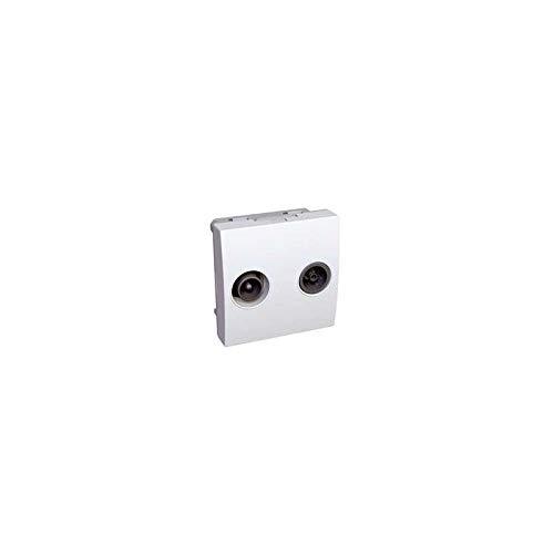 Prise TV-FM blanche 1 entrée - 2 sorties IEC mâle + IEC femelle format 45X45mm clipsable ALTIRA SCHNEIDER ELECTRIC ALB45327