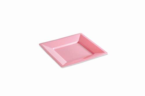 12 Assiettes carrées 18 cm Rose Pastel
