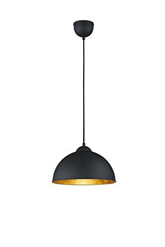 lightling modern Pendelleuchte Kalle, Metall schwarz/Innenseite gold, 1 x E27 max. 60W, ø 31 cm, Höhe 127 cm
