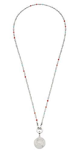 JEWELS BY LEONARDO DARLIN\'S Damen-Halskette Corallo lang, Edelstahl mit farbigen Schliffglas-Perlen, CLIP & MIX System, Länge 700 mm, 016820