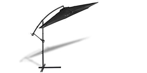 909 OUTDOOR Parasol déporté inclinable | Parasol Jardin décentralisé | Parasol Suspendu en Polyester et Structure métallique | Hauteur 2.5m Diamètre 3m (Noir)