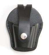 Schwarze Ledertasche für Handschellen Lederetui mit Druckknopfverschluss und Koppelbefestigung in 2...