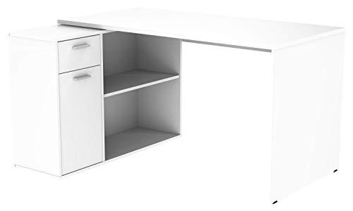 ürotisch WM083-W Arbeitstisch Eckschreibtisch Computertisch Lowboard Aktenschrank Regal Organizer/Holz Hell Weiß ()