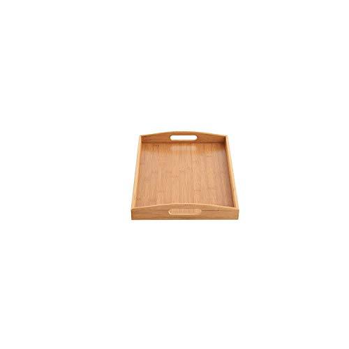 Plateau de service avec poignées, Gfeu rectangulaire plateaux de service en bambou naturel Idéal pour petit déjeuner Pain Fruits, Bambou, bambou, L