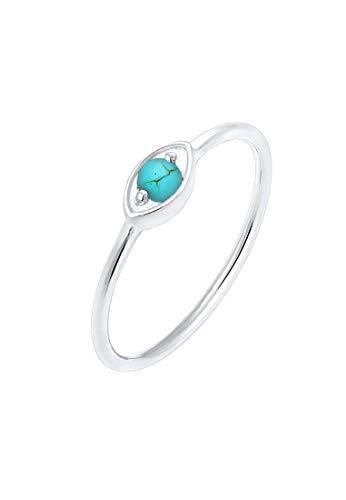 Elli Ring Elli Damen Ring Evil Eye Talisman Symbol Howlith Trend in 925 Sterling Silber