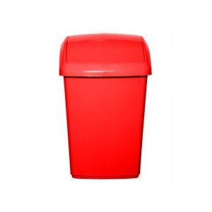 Whitefurze Plastic 30ltr Swing Bin and Lid-Red