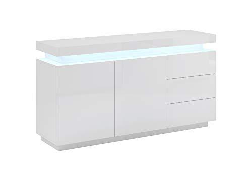 muebles bonitos – Aparador Modelo Osim Color Blanco - Todo el Mueble en Alto Brillo