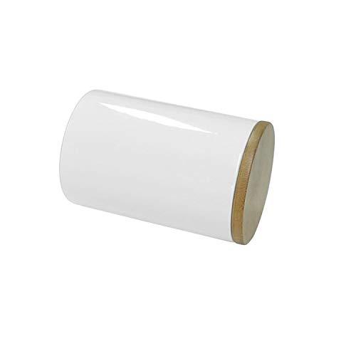 77L Vorratsdose, 430 ML (14.52 FL OZ), Keramik Vorratsdose mit luftdichtem Verschluss Bambusdeckel - Modernes Design Weißer Vorratsbehälter aus Keramik zum Servieren von Tee, Kaffee, Gewürz und mehr