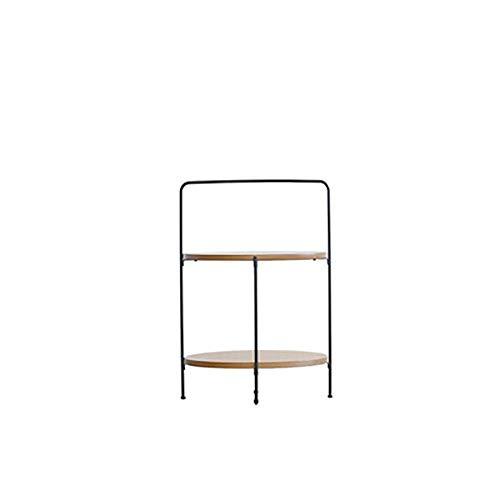 WFHhsxfh Couchtische Nordic Runde Schlafzimmer Eisen Massivholz Einfach Balkon Mobil Mini Faule Person Moderne Möbel Möbel (Farbe : G1 Log Color) -