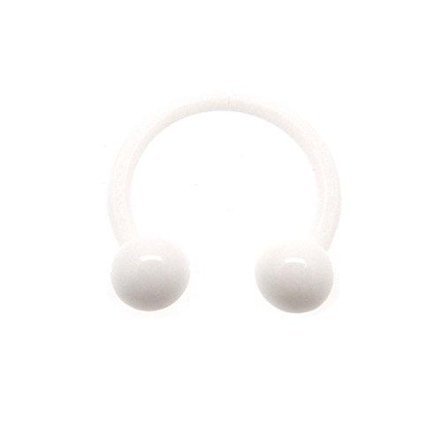 1x Piercing Hufeisen aus PTFE/Bioplast Flexi 1,2 x 10 mm mit Kugeln 3 mm weiß