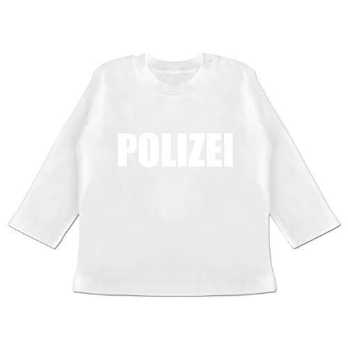 Karneval und Fasching Baby - Polizei Karneval Kostüm - 18-24 Monate - Weiß - BZ11 - Baby T-Shirt - Berufe Karneval Kostüme