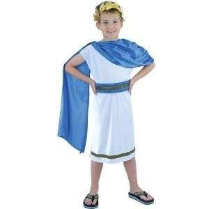 Kinder, die Caesar Römische Kaiser Jungen Kostüm Blau Weiß Fancy Kleid Outfit