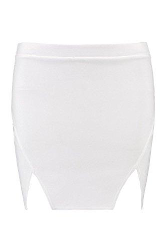 Damen Elfenbein Naia Minirock Mit Doppeltem Schlitz Elfenbein