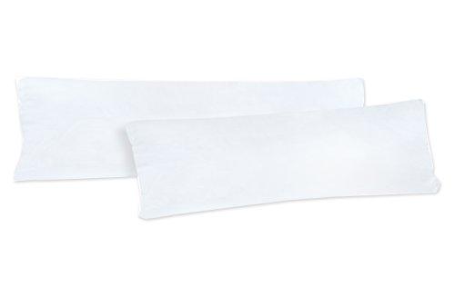 NatureMark Doppelpack Jersey Kissenbezug Gr. 40 x 145 cm für Seitenschläferkissen Kissenbezüge in 14, 100% Baumwolle (Weiß)