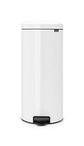 Brabantia Bin Newicon-Cubo de Basura con Pedal, Acero, 30 l, Color Blanco,...