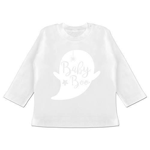 (Anlässe Baby - Baby Boo Halloween Gespenst - 12-18 Monate - Weiß - BZ11 - Baby T-Shirt Langarm)