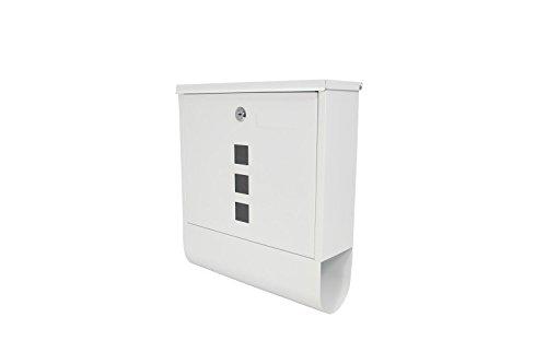 1PLUS Briefkasten Postkasten Wandbriefkasten mit Zeitungsrolle / Zeitungsfach mit schützender Pulverbeschichtung (ohne Namensschild - Weiß)