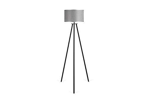 LIFA LIVING schwarz Metall Stehlampe mit grauem Schirm | 2 Varianten | Vintagestil | 1,50m | E-27 |