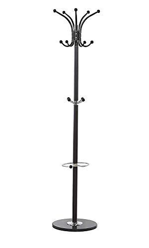 Maxx - attaccapanni waved, in metallo e marmo, con 14 ganci, 173 cm, colore: marrone