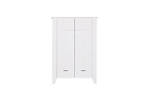 Armoire blanc en pin massif brossé, H142 x L100 x P38 cm -PEGANE-