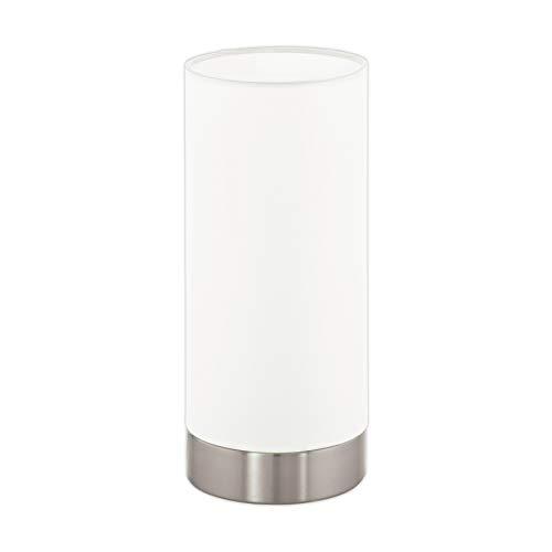 EGLO Tischlampe Tischleuchte, Nachttischlampe, Glas Metall, E27, Weiß matt, 10 x 10 x 21.5 cm -