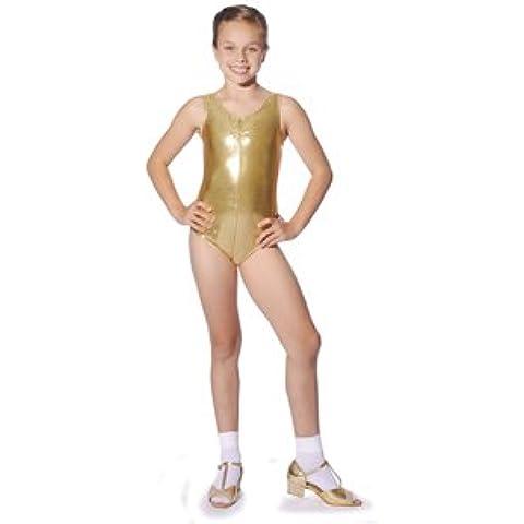 Roch Valley - Leotardos sin mangas para niña, brillantes, color rosa negro y dorado dorado Talla:5-6 años