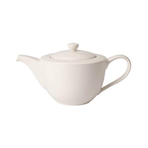 Villeroy & Boch For Me Teekanne, Weiße Porzellankanne mit Henkel und Deckel aus Premium Porzellan, spülmaschinengeeignet, 1300 ml