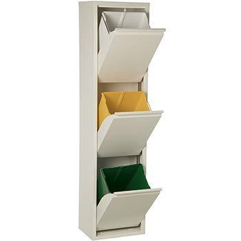 DonRegaloWeb - Papelera vertical de reciclaje de metal de 3 cubos de plástico en color blanco mate