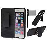 xhorizonBlack Shell Combo Protective Case Cover Slide Rubberized Ribbed Texture Shell