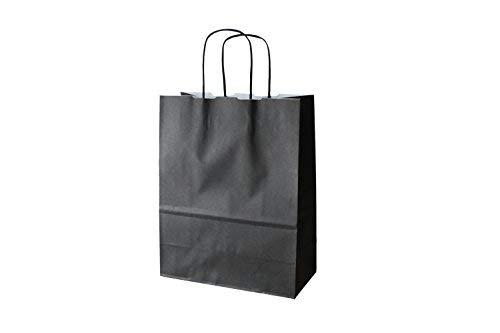 PGV Papiertragetaschen Farbig mit Kordelhenkel 23 + 11 x 29 cm 110 g/m² (100 Stück, Nero / Schwarz)
