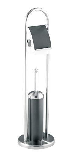 WENKO 17132100 Stand WC-Garnitur Adrano - WC-Bürstenhalter, Edelstahl rostfrei, 22 x 80 x 22 cm, anthrazit