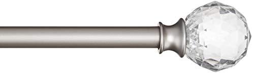 Amazonbasics - bastone per tende, 1,6 cm, con elementi decorativi a forma di palla sfaccettata, 122 cm, trasparente