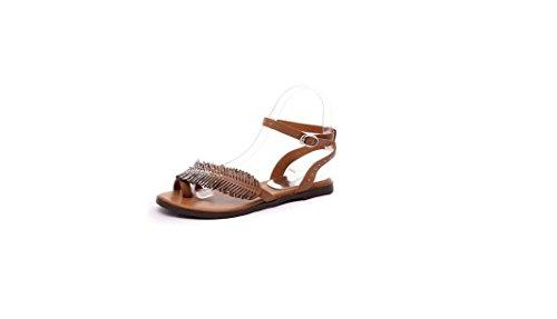 TMKOO& Grande afflusso di sandali estivi delle donne scivolare sandali piatti scarpe di cuoio di commercio estero semplice e confortevole studente Marrone