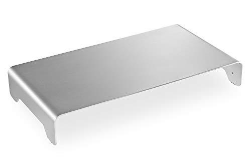 Elevador de Monitor Fino de Aluminio Plateado.