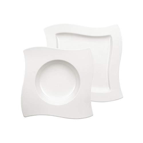 Villeroy & Boch NewWave Set dîner pour 4 personnes, 8 pièces, Porcelaine Premium, Blanc