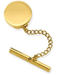 Gold-Flashed Solid Gift Boxed Engravable Round Polished Tie Tack