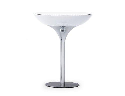 Moree Lounge Stehtisch, Pro Akku, LED beleuchtet, Ø 84 cm, H 105 cm, ABS glänzend, inkl. Glasplatte, weiß transluzent, Aluminium gebürstet, eloxiert, mit Vielfarben LED, mit Fernbedienung und Akku, für Innen, Edition HOWE-Deko