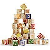 SainSmart Jr. Holz ABC Blöcke 40 Stücke Holzpuzzle Stapeln Blöcke Baby Alphabet Buchstaben, Zählen, Baustein Set mit Netzbeutel für Kleinkinder