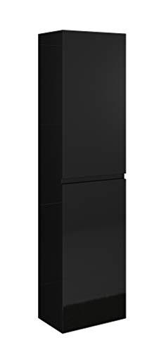 SAM Bad-Hochschrank Parma, Hochglanz schwarz, 2 Türen, Badmöbel, Badezimmerschrank, Soft-Close, 40 x 35 x 160 cm -