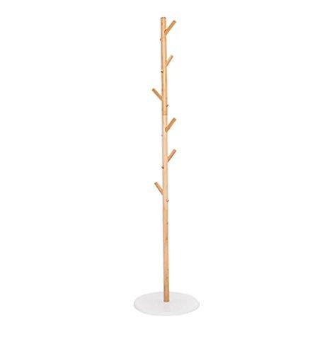 Zemin pavimento in piedi appendiabiti abiti appendiabiti abiti cappello stare portatile bambù semplice 6 ganci obliqui base del disco struttura ad albero naturale 36x155cm cappello stare cappotto cremagliera ganci carina ( colore : naturale )