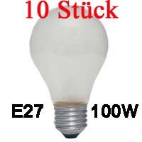 10 Stück Glühlampe AGL / 100 W / 230 V / E27 / matt