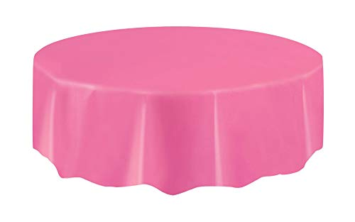 Unique Party Supplies Kunststoff-Tischdecke, rund, 213,3 cm, hot pink, 213 L x 213 W Centimeters
