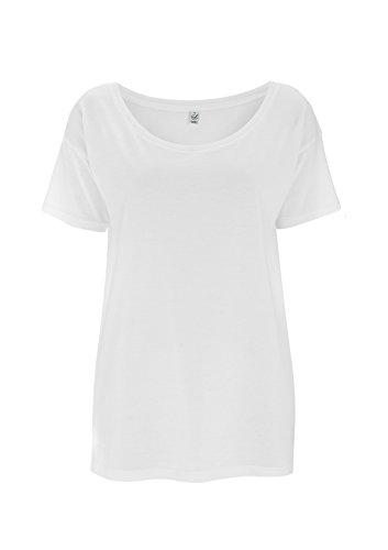 EarthPositive ® - T-shirt - Col Chemise Classique - Manches Courtes - Femme Blanc - Blanc