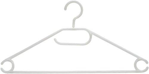 RUSSEL H & L Ltd Tubular weißen, lichtdurchlässigen Kunststoff-Kleiderbügel mit Rock Kerben und drehbarem Haken, der 10 Set, Erwachsene Größe -PT1297 *** BRITISCHER Import ***