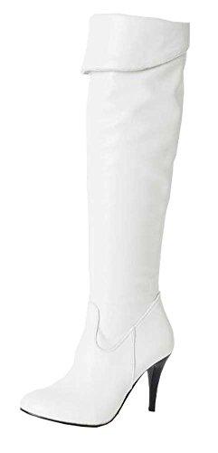 Winter Ritter Stiefel hohen Absätzen Overknee-Stiefel Damen Stiefel Weiß