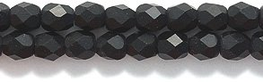 Preciosa Czech 3-mm Fire-Polished Matte Glass Bead, Faceted Round, Black, 300/pack