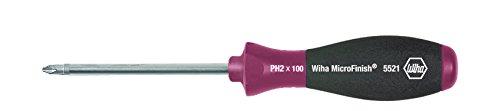 Wiha Schraubendreher MicroFinish Phillips mit Rundklinge (29142) PH1 x 200 mm, für ölige und feuchte Anwendungen, optimaler Halt mit nassen Händen dank Oberflächenstruktur