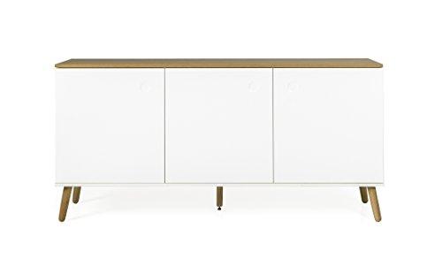 tenzo 2973-450 ACE Designer Buffet 3 Portes, Blanc/Chêne, Structure en Panneaux de Particules et MDF laqués, Naturel, 79 x 162 x 43 cm (HxLxP)