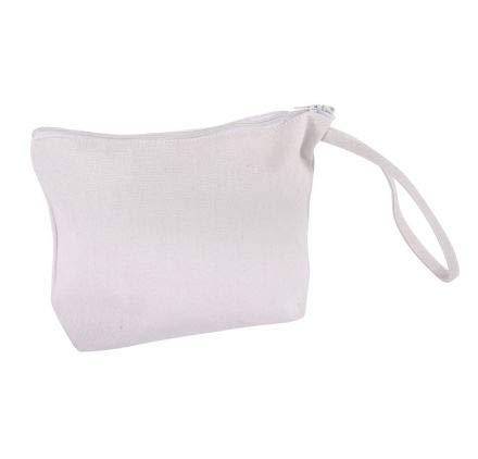 Rayher 53982102 Kosmetiktasche, weiß, 22 x 17 cm, mit Reißverschluss und Trageschlaufe, kleine Schminktasche aus Stoff, Stofftasche zum Bemalen