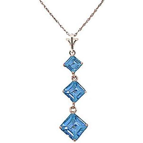 QP gioiellieri naturale topazio blu ciondolo collana in oro rosa 9kt, 2,40ct, taglio